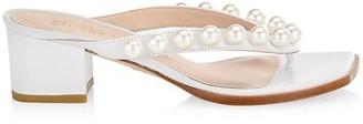 Stuart Weitzman Goldie Embellished Leather Block-Heel Thong Sandals
