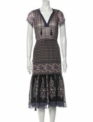 Ulla Johnson Silk Midi Length Dress Blue