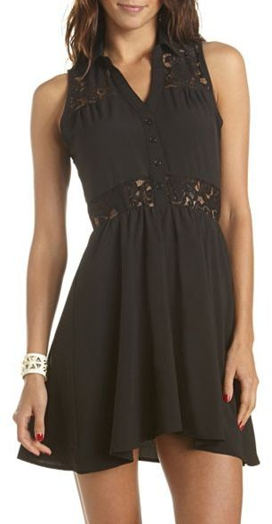 Charlotte Russe Lace Inset Woven Shirt Dress