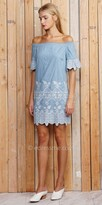 Greylin Off the Shoulder Sia Chambray Embroidered Dress