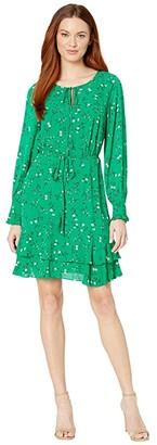 CeCe Long Sleeve Tossed Floral Side Tie Dress (Rich Kelly) Women's Dress