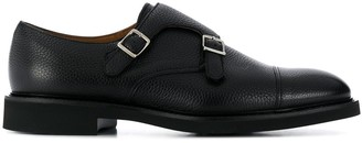 Doucal's Pebbled Double-Strap Monk Shoes