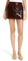 Tibi Women's Patent Coated Wool Blend Miniskirt