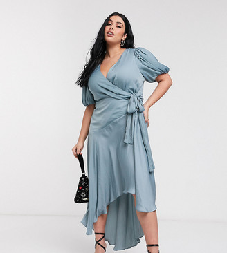 Forever New Curve wrap satin hi-low dress with balloon sleeve in sage