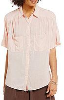 M.S.S.P. Button Down Collar Short Sleeve Woven Dress Shirt