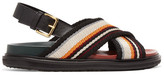 Marni Leather-trimmed Woven Sandals - Black