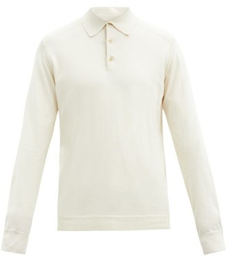 Caruso Cotton Long-sleeved Polo Shirt - Cream
