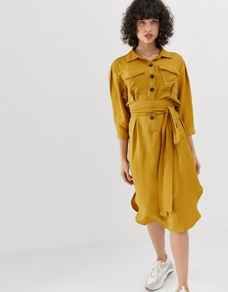 Pieces button through utility dress-Yellow