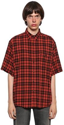 Balenciaga Washed Plaid Lightweight Flannel Shirt