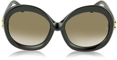 Balenciaga BA0007 01F Black Round Acetate Women's Sunglasses