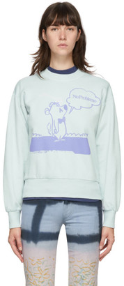 Aries Blue Stoner Bear Sweatshirt