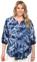 Karen Kane Plus Plus Size Pintuck Pleated Tie-Dye Top