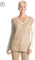 Chico's Christina Lace-Front Pullover Sweater