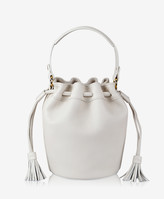 GiGi New York Genevieve Bucket Bag, White Pebble Grain