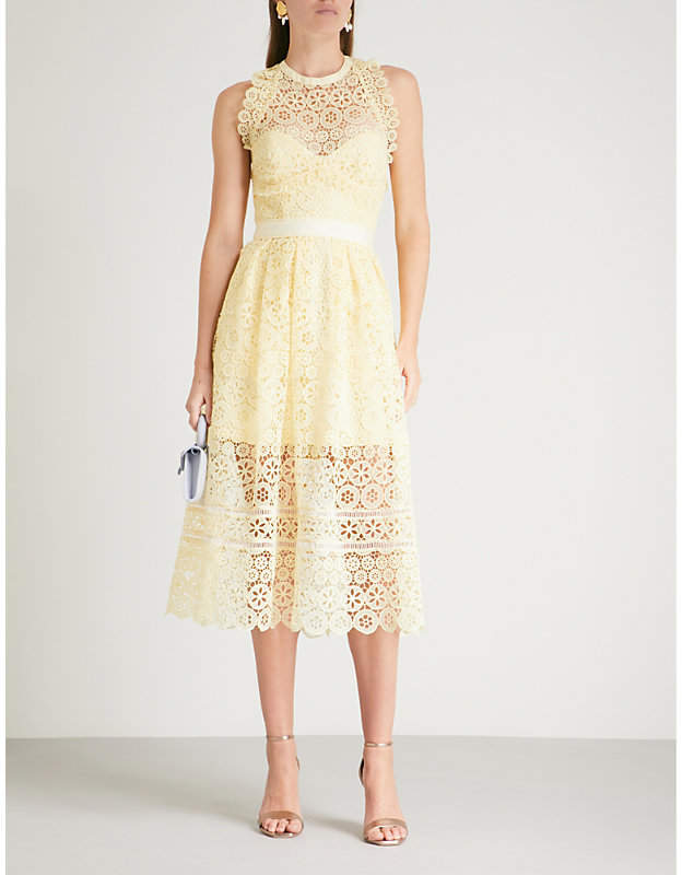 Self-Portrait Circle floral lace midi dress