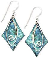 Jody Coyote Patina Brass Earrings, Blue Diamond Swirl Drop Earrings