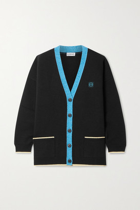 Loewe Oversized Embroidered Wool Cardigan - Black