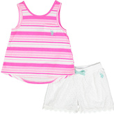 U.S. Polo Assn. Pink Stripe Tank & White Lace Shorts - Infant Toddler & Girls
