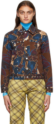 Dries Van Noten Purple and Brown Denim Floral Jacket