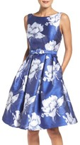 Eliza J Women's Belted Floral Jacquard Midi Dress