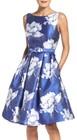 Eliza J-womens eliza j belted floral jacquard midi dress
