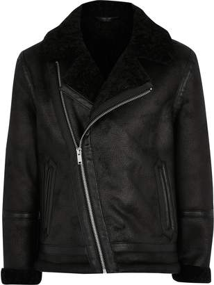 River Island Boys Black borg lined faux suede jacket