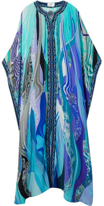 Camilla Lace-up Printed Silk Crepe De Chine Kaftan
