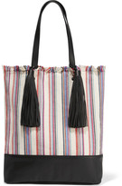 Loeffler Randall Cruise Striped Canvas And Leather Tote - White