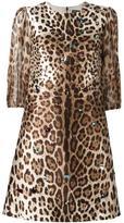 Dolce & Gabbana leopard print dress - women - Silk/Spandex/Elastane/Crystal/Wool - 42