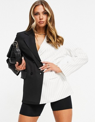 Missy Empire Missyempire contrast oversized blazer in black multi