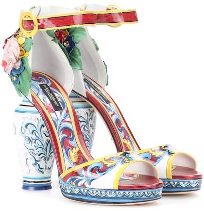 Dolce & Gabbana Printed patent leather sandals