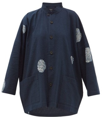 eskandar Scattered Disc Shibori-dyed Cotton Jacket - Womens - Navy White