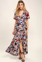 Lush Tranquil Thoughts Blush Floral Print Wrap Dress