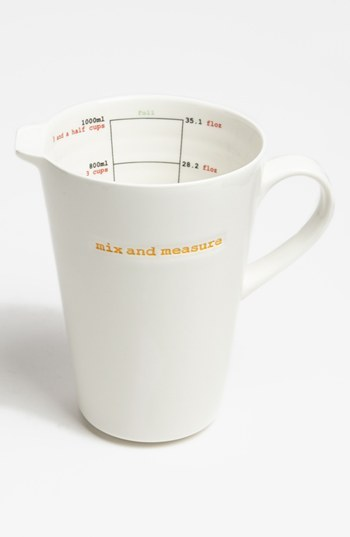 MAKE INTERNATIONAL 'Word Range - Mix and Measure' Porcelain Measuring Jug