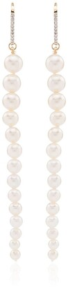 Mateo 14Kt gold pearl and diamond drop earrings