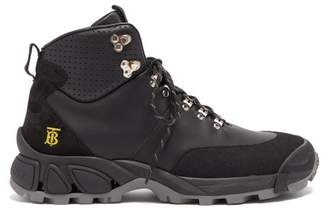 Burberry Monogram Logo Leather Hiking Boots - Mens - Black