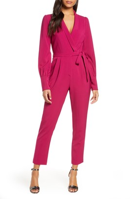 Adelyn Rae Carmela Long Sleeve Wrap Jumpsuit