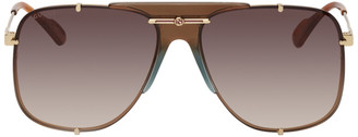 Gucci Gold and Brown Bold Bridge Aviator Sunglasses