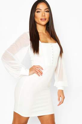 boohoo Square Neck Hook & Eye Dress With Mesh Sleeves