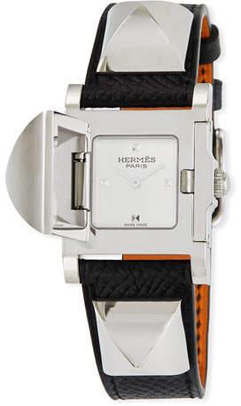 Hermes Médor PM Watch with Black Epsom Strap