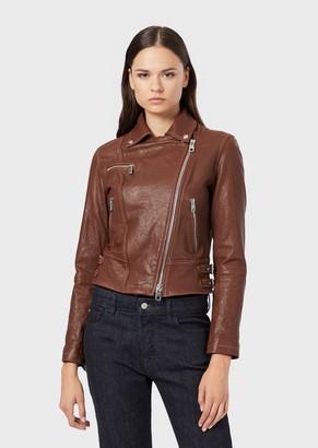 Emporio Armani Multi-Pocket Nappa Leather Biker Jacket