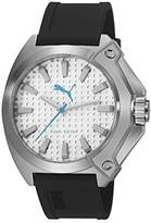 Puma Zone Unisex Quartz Watch with Silver Dial Analogue Display and Black PU Strap PU103811002