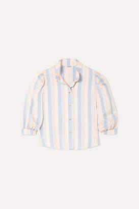 Loewe Frayed Striped Silk Blouse - Pink
