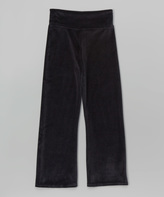 Mulberribush Black Velour Yoga Pants - Girls