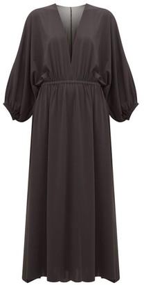 Eres Ava V Neck Crepe Jersey Midi Dress - Womens - Black