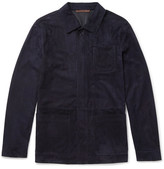 Ermenegildo Zegna Slim-fit Suede Jacket - Midnight blue