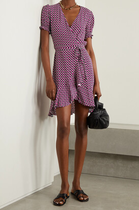 DIANE VON FURSTENBERG - Emilia Ruffled Printed Crepe Mini Wrap Dress - Pink