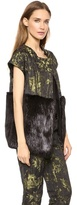 Vera Wang Collection Cape Jacket with Beaver Fur Trim