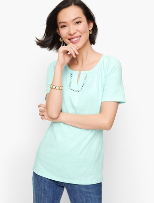 Talbots Lace Trim Split Neck Tee