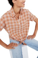 Madewell Colwell Plaid Short Sleeve Tie Front Top